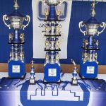 Os disputados troféus de 1º, 2º e 3º lugar