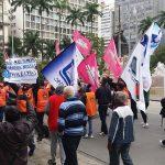 Os trabalhadores pararam o centro.